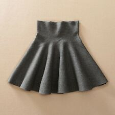 Women Spring Autumn High Waist Knitted Pleated Casual Elastic Flared Mini Skirt