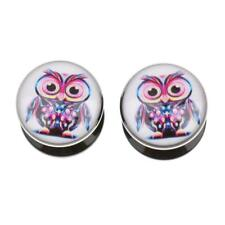 Lovely Acrylic Ear Plug Tunnel Owl Pattern Gauge Expander Stretching Piercing
