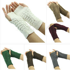 Women Lady Cashmere Protection Knitted Wool Long Fingerless Arm Warmers Gloves
