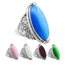 5 pcs Mixed Opal Rings Wholesale Lot Flower Tail Antique Silver Plated Jewelry
