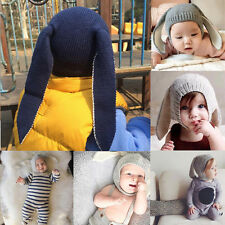 Newborn Girls Boys Baby Kids Toddler Crochet Earflap Beanie Hat Warm Soft Cap