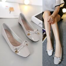 Fashion Patent Leather Casual Solid Pumps Bowknot Flats Square Toe Women's Shoes