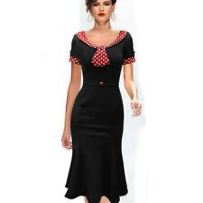 Womens Belted Vintage Retro 50s Polka Dot Short Sleeve Tunic Mermaid Dress