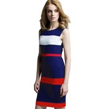 Vintage Patchwork Sleeveless Tank Women Dress Round Neck Sheath Bodycon