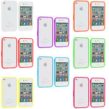 For iPhone 4 4S 4G Bumper TPU Solid Jelly Color Rubber Skin Case Cover