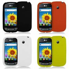 For LG Net10 Optimus Net Phone Silicone Rubber Color Gel Skin Case Cover