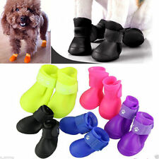 4pcs Pet Dog Puppy Rain Boots Shoes Anti-slip Waterproof Rubber Shoes S M L