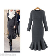 Women Elegant Fishtail Sweater Dress Long Sleeve Warm Thicken Party Knit Dresses