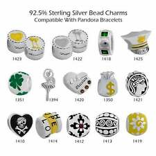 European 925 Sterling Silver Charm Beads fit 3mm Bracelet Necklace #31-1425