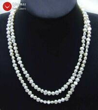 """Fashion Natural White 6-7mm Baroque freshwater pearl Long 40"""" necklace-nec6115"""
