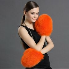 100% Real Genuine Fox Fur Gloves Hand Warm Jacket Coat Women Winter 6Colors NEW!