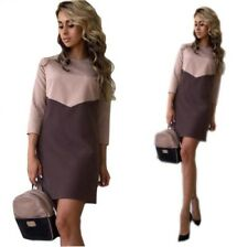 Women Casual Patchwork Mini Autumn O Neck Quarter Sleeve Bodycon Dress.