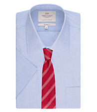 Hawes & Curtis Mens End On End Tailored Fit Short Sleeve Shirt Easy Iron