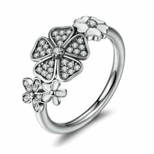 Flower Rings Women 925 Sterling Silver CZ Wedding Engagement GiftS Size 6 7 8
