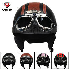 Motorcycle Scooter Open Face Leather Half Helmet Vintage Goggles DOT For Harley