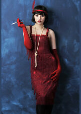 Red Fringed Roaring 20s Flapper Fancy Dress Costume