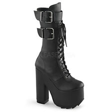 CRAMPS-202 LACE UP /DOUBLE STRAP BIKER COMBAT PUNK ROCK KNEE HIGH PLATFORM BOOT