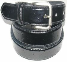 """8240 OSTRICH GRAIN BLACK LEATHER BELT FOR BOYS IN 1.25"""" WIDTH AND SIZES 18""""- 30"""""""