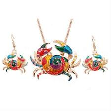 Gift 1 sets Crab Fashion Necklace Jewelry Sets Colorful Earring Silver Plated