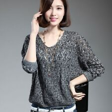 Women Pullovers Bat Sleeve Casual Hollow Out Transparent  Sweater!!!