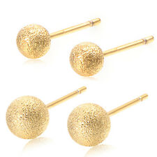 Girls Childrens Boys Safety Kids Baby Round Ball Stud Earrings 18K Gold Filled