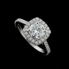Double Halo Cushion Shape Diamond Platinum 950 Modern Engagement Ring Setting