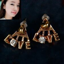 Korean Fashion Shiny Rhinestone Earrings Delicate Letters LOVE Stud Earrings HM