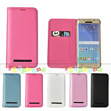 ID Credit Card Synthetic Leather Case For Samsung Galaxy S6 Edge / PET Protector