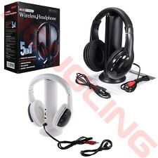 5 in 1 Wireless Headsets Cordless RF Headphones + FM Transmitter For PC TV MP3