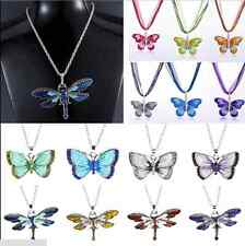 Fashion Crystal Butterfly Animal Chain Rhinestone Colorful Pendant Necklace Hot