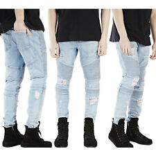 New Fashion Mens Designed Straight Slim Fit Biker Jeans Pant Denim Trousers
