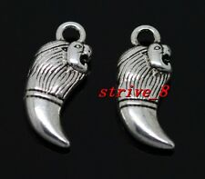 Lots 50/300pcs Tibetan Silver lion's teeth Alloy Jewelry Charms Pendant 17x8mm