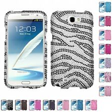 For Samsung Galaxy Note 2 N7100 Diamond Diamante Bling Rhinestone Case Cover
