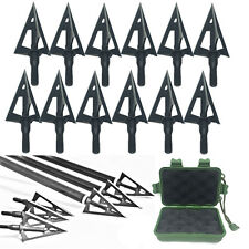 Lot Broadheads 100 Grain 3 Fixed Blade Archery Arrow Heads Bow Hunting Black