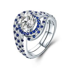 925 Sterling Silver CZ Engagement Luxury Blue Sapphire Wedding Ring Sets for Her