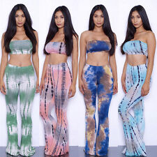 Tie Dye Flared Trousers High Waist Wide Leg Long Pants Trousers with Crop Top