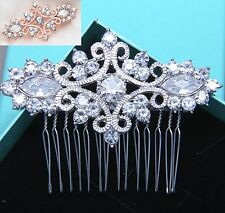 Crystal Headpiece Rhinestone Comb Rose Gold Silver Wedding Hair Clip