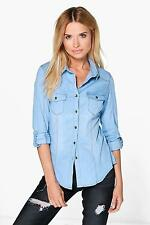 Boohoo Womens Lucy Stretch Slim Fit Denim Shirt