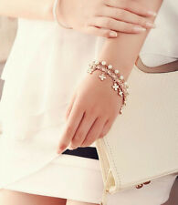 Pearl Beautiful Womens 2016 Rope Chain Clover Bracelet New Leather Four Leaf
