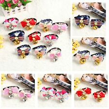 Butterfly Dog Cat Leather Band Pet Collar Bells Bowknot