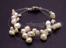 "SALE 4-9mm BAROQUE Natural White Pearl 9 strands 7.5"" Starriness Bracelet -br346"