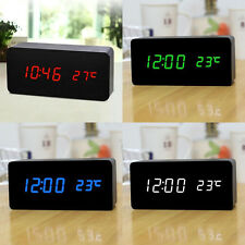 Digital Old Style Alarm Clock LED Display Temperature Sounds Control Wooden