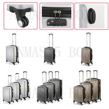Hard Grey Silver Hard Solid Luggage Travel Case Suitcase ABS - Cabin Size S/M/L