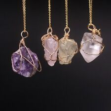 Handmade Natural Stone Pendant Amethyst Rose Quartz Crystal Necklace Women gift