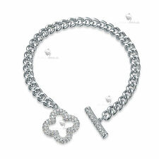 18K YELLOW WHITE GOLD GF MADE WITH SWAROVSKI CRYSTAL TOGGLE CLOVER BRACELET