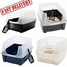 Cat Litter Box Open Top Shield Scoop Kitty Clean Pet Cabinet Clean Medium