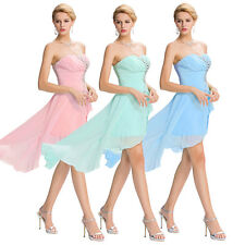 High Low Strapless Chiffon Bridesmaid Dress Cocktail Party Prom Evening Summer