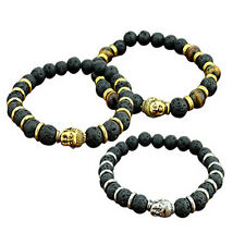 Lava Stone Charming Buddha Beaded Bracelet Bangle Rock Elastic Bracelet