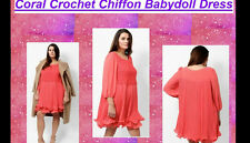 New LOVEDROBE CORAL Crochet XMAS Babydoll Dress SIZE 28-30 yours evans BE very
