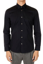 MARC JACOBS Men New Slim Fit Cotton Italian Collar Black Shirt Made in Italy